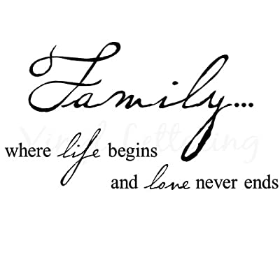 Dailinming PVC Wall Stickers Family where life begins and love never ends 12.5 h x 23 w vinyl lettering wall sayings art decor decal sticker word 59X32CM