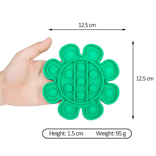 nixo Push Bubble Pop Fidget Toy, Green, Flower, Pack of 1 Popper Bubble Stress Relief Toy, Perfect Bubble Poppet Sensory Fidget Toy for Kids and Adults, Best Anti-Anxiety ADHD Popping Toy