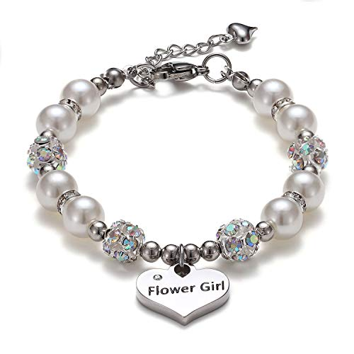 VINJEWELRY Flower Girl Pearl Bracelet Wedding Jewelry for Your Little Flower Girl