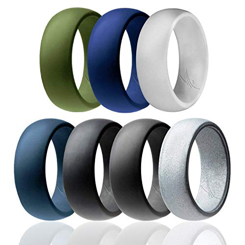 ROQ Silicone Wedding Ring for Men Affordable Silicone Rubber Band, 7 Pack - Black, Grey, Silver, Light Grey, Dark Teal, Dark Blue, Dark Olive Green - Size 11