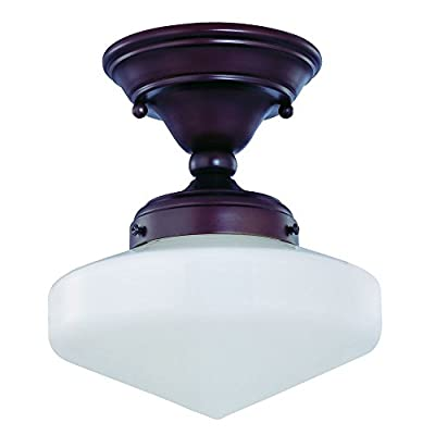 8-Inch Vintage Style Schoolhouse Ceiling Light in Bronze