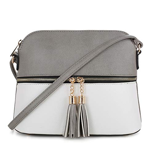 SG SUGU Lightweight Medium Dome Crossbody Bag with Tassel | Zipper Pocket | Adjustable Strap (Gray/White) ()