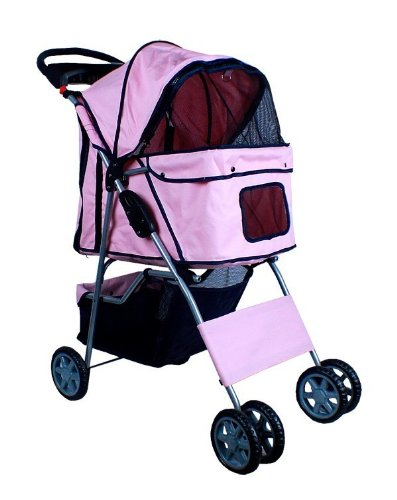 New Deluxe Folding 4 Wheel Pet Dog Cat Stroller Carrier w Cup Holder Tray - Pink