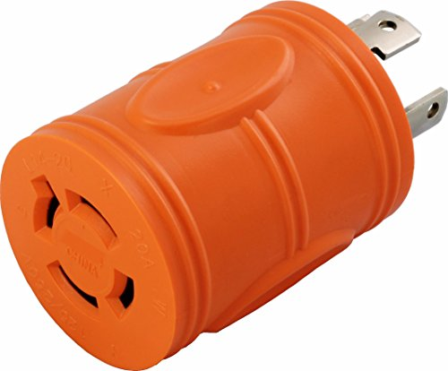 AC WORKS [ADL1430L1420] Locking Adapter 30Amp 4 Prong 125/250Volt L14-30P Locking Plug to L14-20R 20Amp 4Prong 125/250Volt Locking Female Connector Adapter