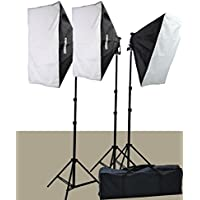 2400 Watt Softbox Lighting Kit Chromakey Green Screen Video Lighting Kit Three Softbox, 12 x 45watt Flourescent Bulb, 3 x lightstand by Fancierstudio 9004S-3
