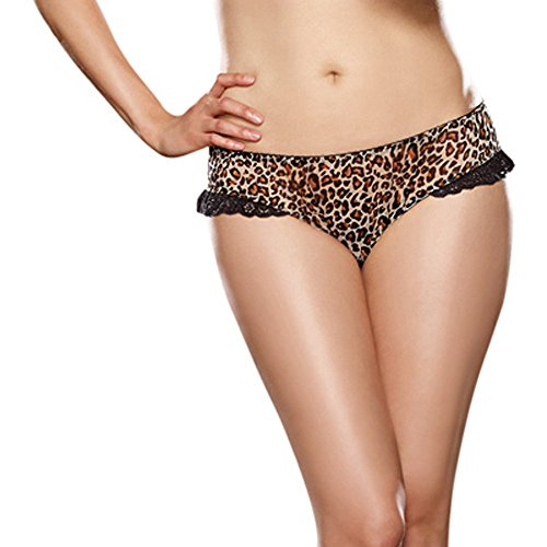- Dreamgirl Women's Plus-Size Plus Size Leopard Open Heart Back Pant, Leopard, 1X/2X