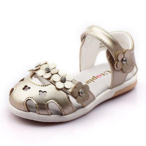 (Nova Toddler Little Girls Summer Flower Sandals NF Girl NFGS10-UTOPIA Gold 10)