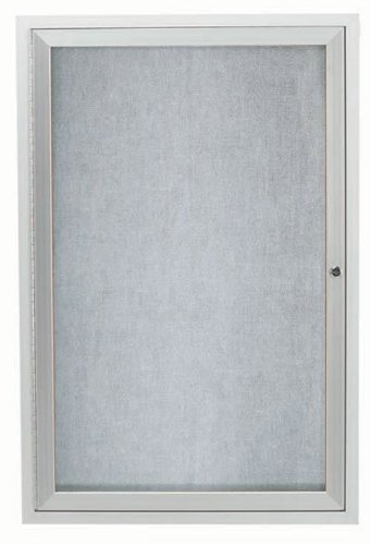 Aarco Outdoor Board - Aarco Products ODCC2418R 1-Door Outdoor Enclosed Bulletin Board - Clear Satin Anodized