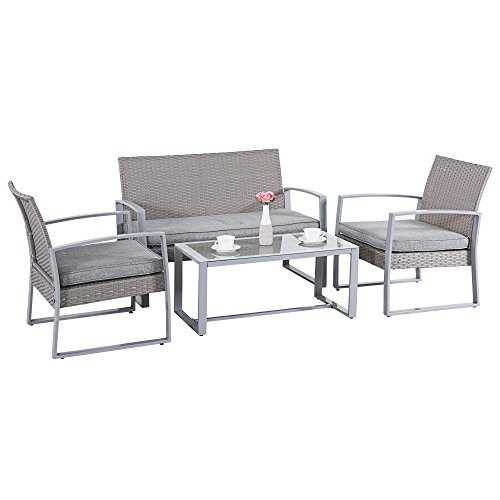 Gray Patio Furniture (Cloud Mountain Outdoor 4 PC Rattan Wicker Patio Furniture Set Cushioned Conversation Love Seat Steel Rattan Garden Lawn Sectional Dining Set Sofa Deck Chair and Table, Gray)