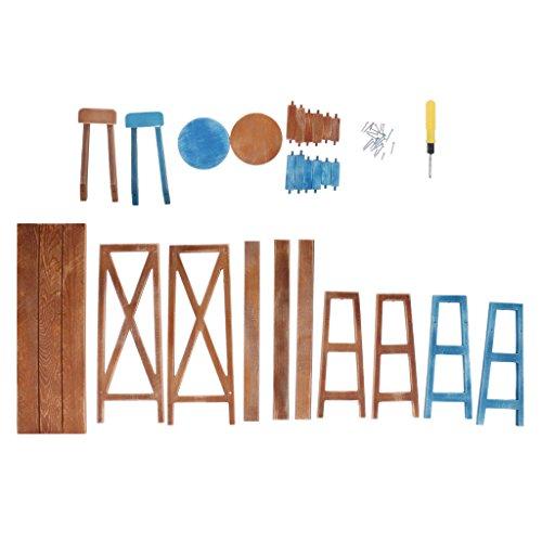 MagiDeal Miniature Wooden Bar Table Chair Furniture Set for Dollhouse 1/4 BJD DOD DZ Tonner 16-18inch Doll Accessories Brown