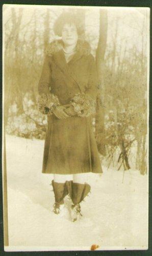 (Veronica Alex fur trim coat galoshes snapshot 1926)