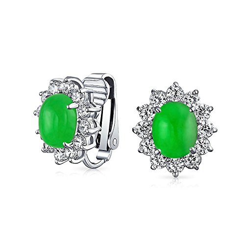 Oval Simulated Jade Clip On Stud CZ Earrings Rhodium Plated Brass ()