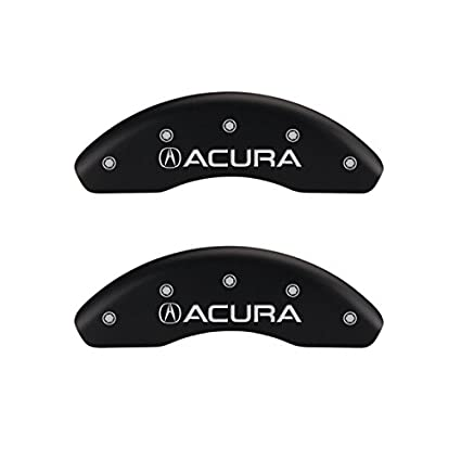 Set of 4 MGP Caliper Covers 39019SACUBK Black Powder Coat Finish Acura//Acura Engraved Caliper Cover with Silver Characters