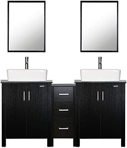 eclife 60 Bathroom Vanity Sink Combo Black W/Side Cabinet Vanity White Ceramic Vessel Sink and Chrome Bathroom Solid Brass Faucet and Pop Up Drain
