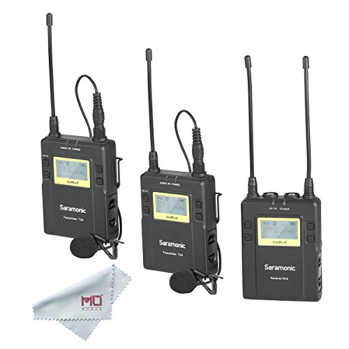 Saramonic UWMIC9 RX9 + TX9 + TX9, 96-Channel Digital UHF Wireless Dual Lavalier Microphone System for PRO camera, DSLR, Camcorder, Smartphone ()