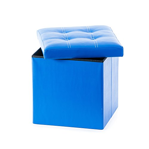 Guidecraft Storage Ottoman Blue - Chest with Removable Top Cushion, Children Seat and Foot Rest Stool Toy Box, Kids Furniture