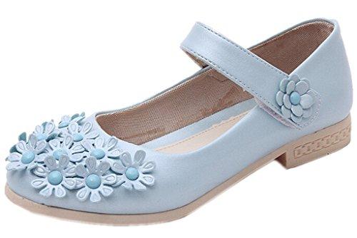 DADAWEN Girl's Floral Velcro Strap Princess Ballerina Flat