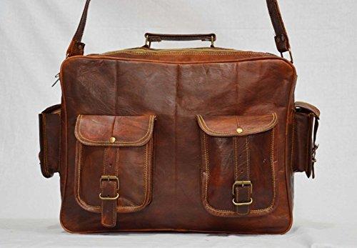 Handgefertigt Travel Messenger braun Vintage, Laptop Echt Ziegenleder Tasche