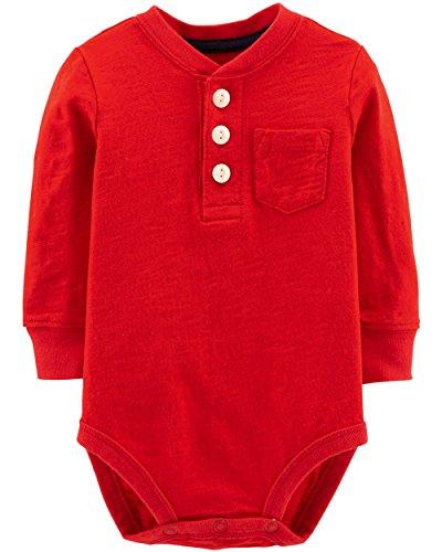 Osh Kosh Baby Boys' Pocket Henley Bodysuits, Red, 6-9 Months
