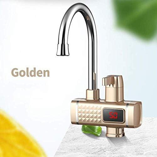 1yess Sofortiger elektrischer Warmwasserhahn, Küche Warmwasserbereiter-Hahn-Heizung, Display (weiß) (Color : Gold)