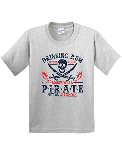 Rum Noon Pirate Novelty Sarcastic Drinking Funny T Shirt M Ash]()
