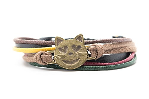 Smiling Cat Face With Heart Shaped Eyes Emoji Bracelet Orti Jewelry Original Emoji Fashion Bracelet – Handmade Leather, Metal & Rope Bangle, Stylish, Adjustable Unisex Jewelry, Romantic Gift - Face Have To Shaped How Heart A