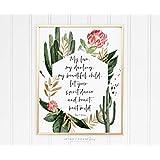 Arvier Floral Cactus Nursery Print Girls Desert Southwest Room Decor Heart Beat Wild Original Quote in Framed Wall Art