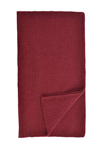 Cashmere Ribbed Scarf (Cashmere Ribbed Scarf in Claret Made In Scotland)