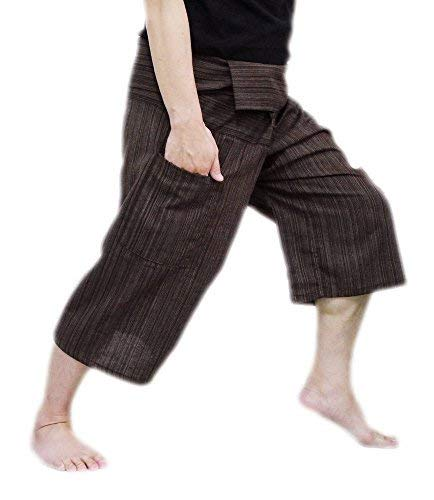 Thai Fisherman Pants Yoga Trousers Free Size 3/4 Cotton Stripe-Brown (Brown Shorts Striped)