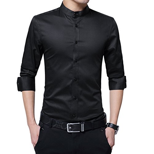 Boyland Men's Dress Shirt Banded Collar Long Sleeve Slim Fit Tuxedo Shirt Cotton Black