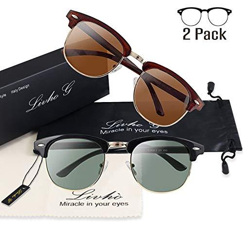 Livhò G 2 Pack of Polarized Sunglasses Women Men Semi Rimle