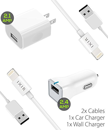 iPhone 8 Charger set , iPhone X / 8 / 8 Plus / 7 Plus / 7 / 6S / 6 Charger 5W – 2.1 Amp Power adapter Apple MFi Certified Lightning to USB Cable Kit by Ixir – (1 Wall Charger + 1 Cable + 2 Cables)
