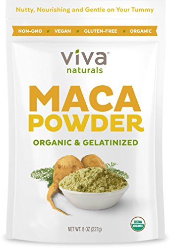 Gelatinized Maca Root (Viva Naturals Organic Maca Powder, Gelatinized for Enhanced Bioavailability, Non-GMO, 8oz Bag)