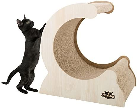 Cat Scratching Post- Wood and Cardboard Incline Vertical Scratcher Station for Kittens and Large Cats Furniture Scratch Deterrent by PETMAKER [並行輸入品]