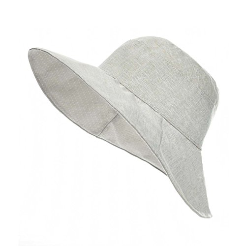 VOBOOM Women Reversible UPF50+ Linen/Cotton Summer Sunhat Bucket Packable Hats (Light Gray)