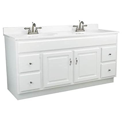 allen + roth Southbay Cove White Integral Bathroom Vanity with Cultured  Marble Top 24-in