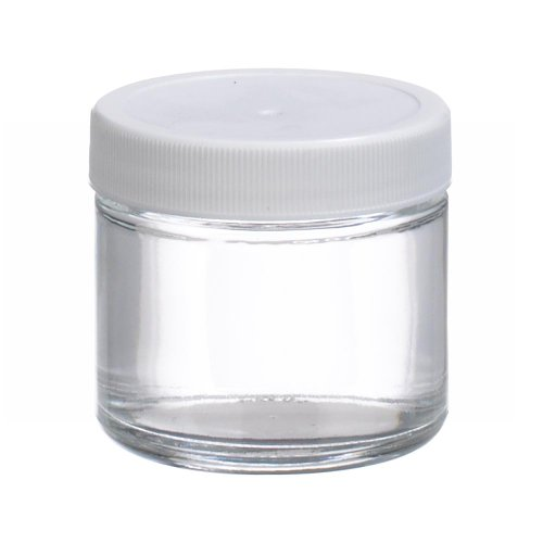 Wheaton W216903 Clear Glass 2oz Straight Sided Jar, with 53-400 White Polypropylene Poly-Vinyl Lined Screw Cap (Case of 24)