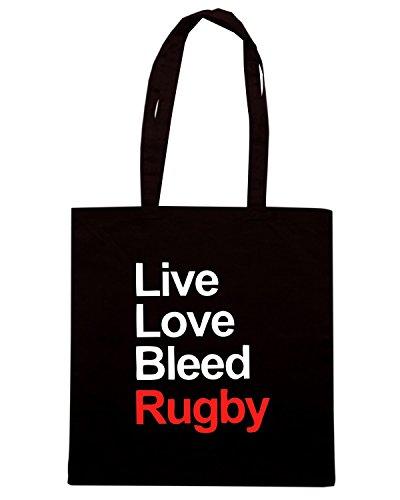 T-Shirtshock - Bolsa para la compra TRUG0116 live love bleed rugby logo Negro