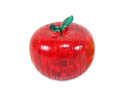 Apple Puzzle - Bepuzzled Original 3D Crystal Puzzle - Apple, Red - Fun yet challenging brain teaser that will test your skills and imagination, For Ages 12+