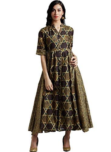 Jaipur Kurti Women's Mehandi Green Pure Chanderi Dress