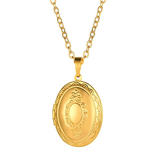 U7 Oval Locket Pendant Necklace 18K Gold Plated Memorial Photo Lockets Charm Valentines Gift Jewelry for Women/Girls (Gold Plated Oval Locket)