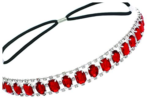 Elastic Headband with Oval and Rectangle Gems and Sparkling Crystal Accents | - Gem Headband