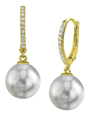 18K Gold 9mm White South Sea Cultured Pearl & Diamond Aurora Leverback Earrings