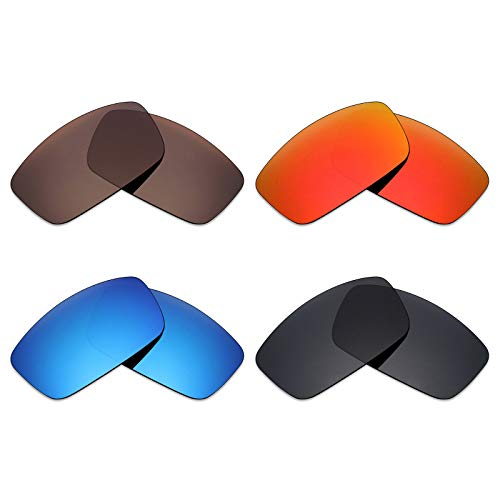 Mryok 4 Pair Polarized Replacement Lenses for Spy Optic Logan Sunglass - Stealth Black/Fire Red/Ice Blue/Bronze Brown