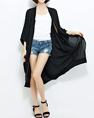 Middle Loose Black Solid A ELLAZHU Black Sleeves GA1142 Chiffon Baggy Women Outerwear Long ZqRw7n5tx