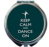 Rikki Knight Keep Calm and Dance On Green Color Design Round Compact Mirror