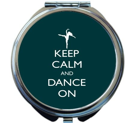 Rikki Knight Keep Calm and Dance On Green Color Design Round Compact Mirror by Rikki Knight