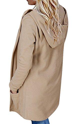Frente Casual Con La Khaki Sueltas Con Bolsillo Sólido Capucha Mujer Abrigos Sudadera Capucha Abierto g5qZE0qx