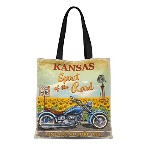 Semtomn Canvas Bag Resuable Tote Grocery Adorable Shopping Portablebags Moto Vintage Route 66 Kansas Motorcycle America American Antique Bicycle Natural 14 x 16 Inches Canvas Cloth Tote Bag - Highway Americas 66 Route Motorcycle