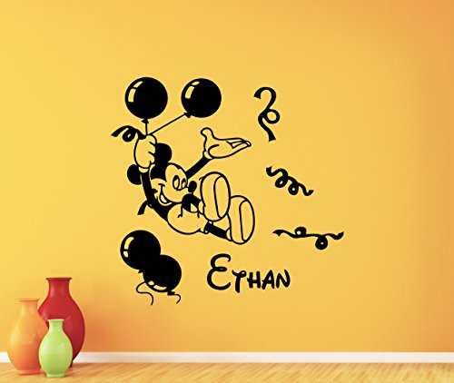 Mouse Mickey Personalized Holiday (Personalized Mickey Mouse Wall Decal Balloons Holiday Boy Custom Name Walt Disney Cartoons Vinyl Sticker Baby Girl Boy Customized Kids Room Wall Art Bedroom Nursery Wall Decor Mural 107crt)